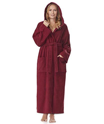 Arus Bademantel-Hooded Classic für Damen, Größe: S/M, Farbe: Weinrot