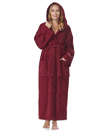 Arus Women's Hooded Classic Bathrobe Turkish Cotton Robe with Full Length Options