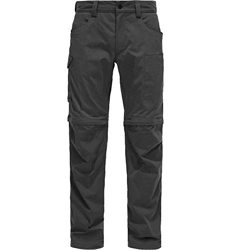 Haglöfs Men's Hiking Trousers Zip Off Trousers Water-Repellent Wind-Resistant Stretch Small - Grey - XL