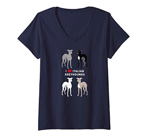 Mujer Me encantan los galgos italianos Camiseta Cuello V