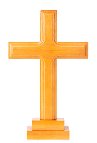 Wooden Standing Cross Decor, Altar Cross with Stand, Wood Cross Large with Double-Sided Display, Standing Table Cross for Home or Church Decor, Medium Size Christian Gift (11.5'' x 7.1''x 0.79'')