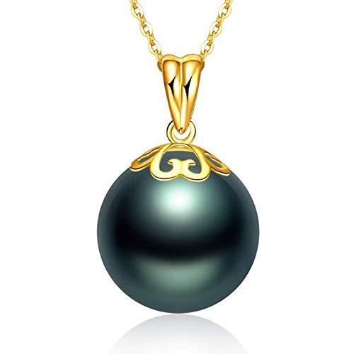 Fashion Jewelry@ Exquisite 12-13 mm Negra Tahiti Original Perla Oro de 18 Quilates Amarillo Oro Perlas Colgante en Plata de Ley 925 45cm Cadena para Niña Regalo de Cumpleaños Joyería