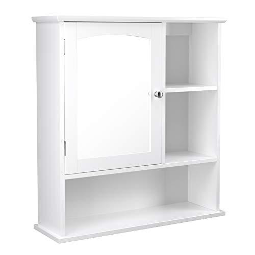 VASAGLE Spiegelschrank fürs Bad, Badschrank, Wandschrank mit höhenverstellbarer Regalebene, Badezimmerschrank mit 3 offenen Fächern, 60 x 18 x 64 cm, Holz, weiß BBC23WT
