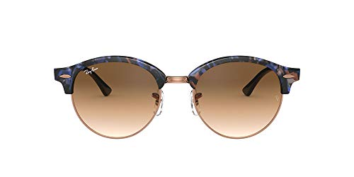 Ray-Ban Clubround Round Sunglasses, Spotted Brown/Blue, 53 mm