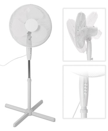 Staande ventilator, diameter 40 cm, tot 125 cm, verstelbaar, koeler, ruimteventilator, luchtverfrisser, ventilatie