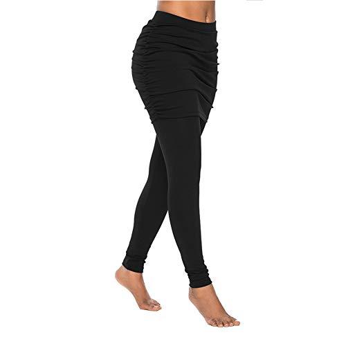 Duuozy Frauen Legging Mit Über Falten Rock Capri Yoga Hosen Stretch Hose für Laufen Tennis Golf Workout,Black,S