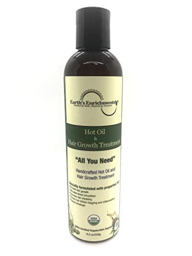 Hot Oil Treatment, Hair Oil for Hair Growth - USDA Organic, Great for Dry, Damage Hair, Shedding, and Breakage, Moisturizes, Conditions, Grows Shiny, Strong, Healthy, Can use on Natural, Perm, Frizzy Hair, 8oz