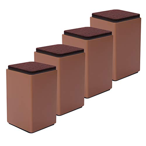 "4 Packs Bed Furniture Risers - Lifts Height 4"" - Heavy Duty Solid Steel Risers for Sofa, Table, Chair with Non-Slip Bottom Felt Pad, Protect Floors and Surfaces, Square Brown"