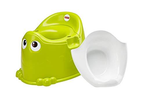 Fisher-Price DKH99 Frosch Töpfchen Toilettentrainer mit integriertem Spritzschutz grün für Kleinkinder