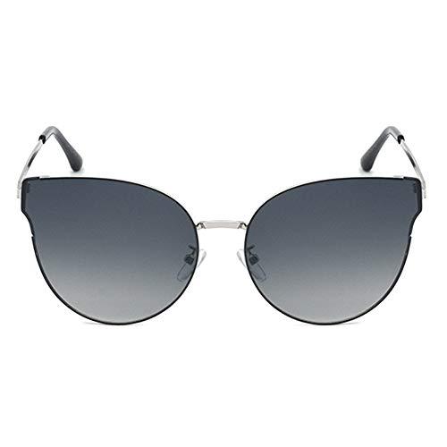DKee Gafas de sol polarizadas de metal para mujer, diseño de ojo de gato, protección UV400, montura plateada, lente gradiente gris