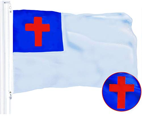 G128 – Christian Flag | 3x5 feet | Embroidered 210D Polyester – Indoor/Outdoor, Vibrant Colors, Brass Grommets