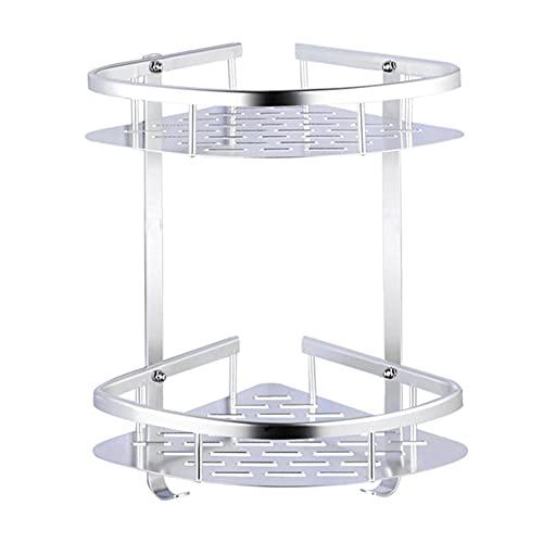 XXZZL Estantes para Ducha Estanterías para Baño Cesta Ducha Adhesiva Bandeja almacenaje baño Triangular Cocina Rinconera de Ducha con 2 Ganchos Aluminio 2 Niveles