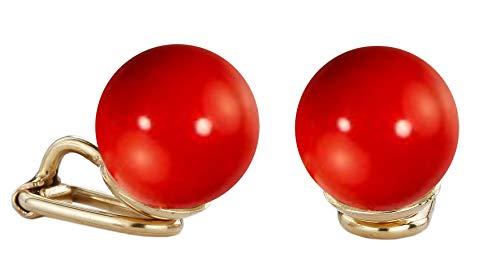 Traveller® - Pendientes de clip con perla de Swarovski® – Perla Ø aprox. 10 mm (rojo coral)