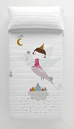 HACIENDO EL INDIO Colcha bouti Reversible Wonderland Pinkcama 90 cm