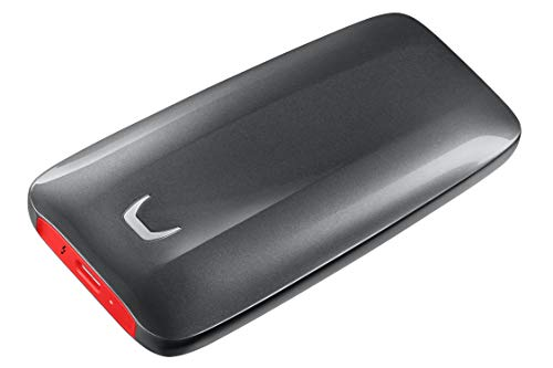 Samsung X5 Portable SSD 1TB - Thunderbolt 3 External Solid State Drive with NVMe Interface (MU-PB1T0B/AM) - Gray/Red