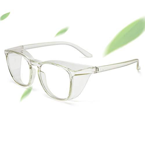 Gafas de seguridad de gran tamaño con protectores laterales anti niebla, pulverización y polvo, marco grande anti rayos azules y UV gafas de seguridad para el trabajo verde