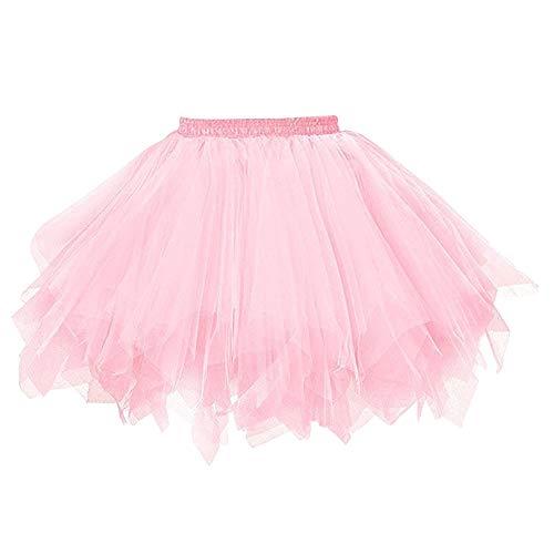 FEOYA Damen Vintage Petticoat Unterrock Reifrock für Hochzeit Brautkleid Retro Prinzessin Tutu Rock Tüllrock Faltenrock mit Schleife zu Party Fest (OneSize, Pink)