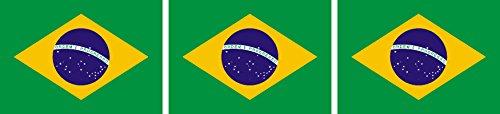 3x Mini Premium Aufkleber Fahne / Falgge von Brasilien Sticker Auto Motorrad Fahrrad Bike auch für Dampfer E-Zigarette Sisha