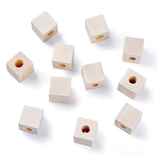 PandaHall 50 cuentas de madera de cubo sin terminar 19 ~ 20 x 19 ~ 20 x 20 mm de agujero grande espaciador de madera cuentas sueltas para pulsera y collares