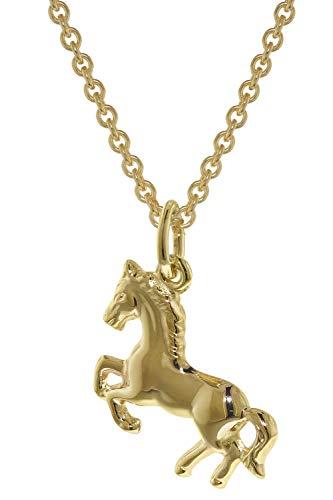 trendor Pferd Anhänger Gold 333 mit plattierter Kette für Mädchen 35808-45 45 cm