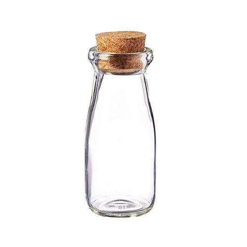 1 botella de 200 ml de vidrio transparente vacío con leche de corcho, para hacer yogur o para almacenar tartas