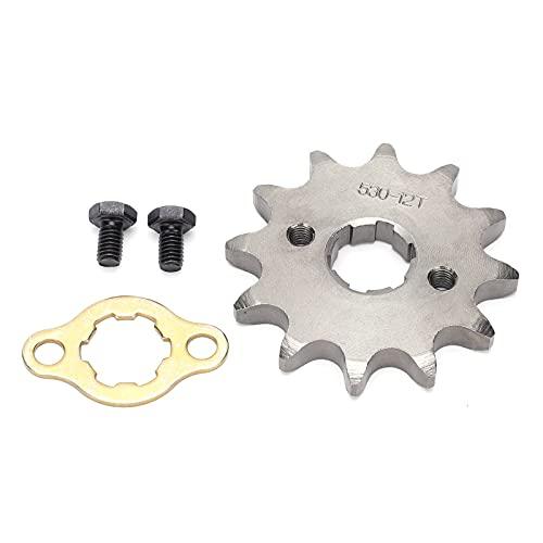 Piñón delantero del motor de bicicleta ATV, piñón delantero del motor de 17 mm 30 mm con accesorio de montaje Diente de aleación de acero 12T para cadena 530