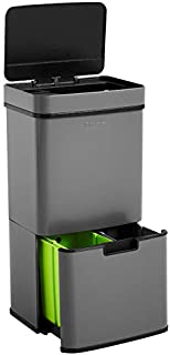 Homra Poubelle de tri sélectif à capteur - 4 Compartiments - 72 litres - INOX - Design Poubelle de Recyclage - Nexo Gris