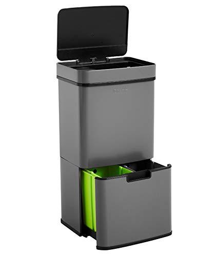 Homra Nexo Grau - Mülltrennsysteme mit 3+1 Fächer - Mülleimer mit Sensor - 72 Liter (2x12 + 1x48 L) - Design Treteimer aus Edelstahl