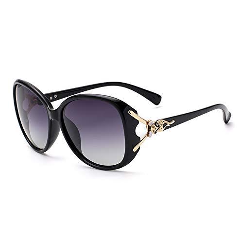 Empty Gafas de Sol, Gafas de Sol polarizadas para Mujer, Nueva versión Coreana de la Marca 2020 de Cara Redonda de Las Gafas Anti-UV,Negro