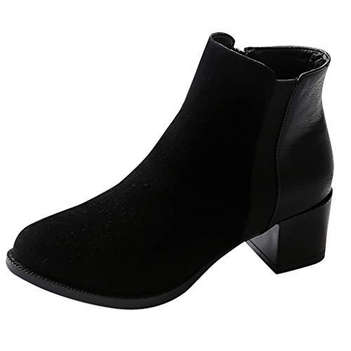 FRAUIT Stivali Donna Tacco Basso Pelle Scamosciati Stivaletti Ragazza Tacco Largo Scarponcini Inverno Trekking Polacchine Eleganti Boots Alti Classici