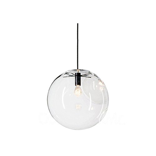 Boule en verre Wings of Wind E27 suspension lustre transparent goutte en verre lampe à suspension support de lampe noir, Verre, 30cm, Φ20