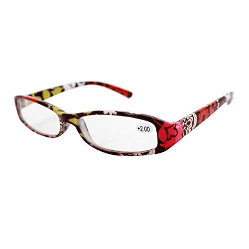 Milya Milya Unisex Lesebrille Presbyopie Brille Sehhilfe Lesehilfe Blume Gemustert Rot +3,5
