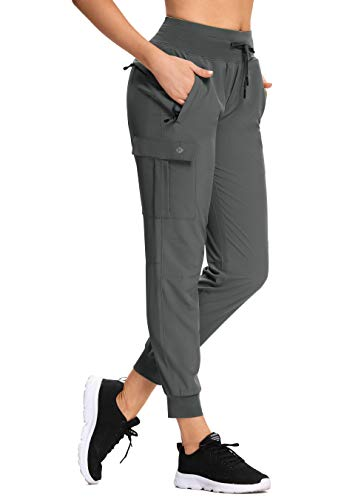 Women's Lounge Cargo Hiking Pants Lightweight Joggers Quick Dry Water Resistant Outdoor Fishing UPF 50+ Sweatpants with Zipper Pockets