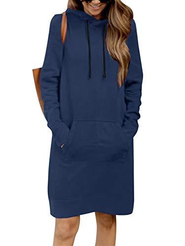 Kidsform Damen Herbst Hoodies Lang Kapuzenpullover Damen Long Sweatshirt Oversize Pulloverkleid Damen Winter DunkelBlau L/44 EU