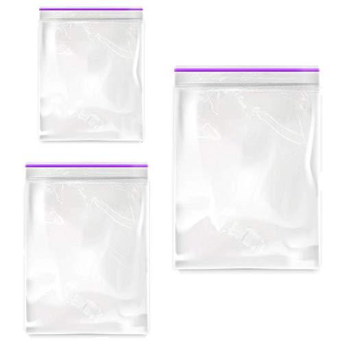 300 Stück kleine Ziplock-Beutel für Schmuck – 2 mm durchsichtige, wiederverschließbare Poly-Beutel mit Reißverschluss, Größen: 3,8 x 5,8 cm, 5,1 x 6,9 cm, 6,1 x 7,6 cm für Pillen, Vitamine