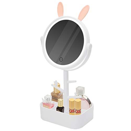 Miroir de Maquillage Lumineux Tactile de Bureau de Voyage Rotatif Rechargeable Portable à 360 Degrés Et Boîte de Rangement de Maquillage
