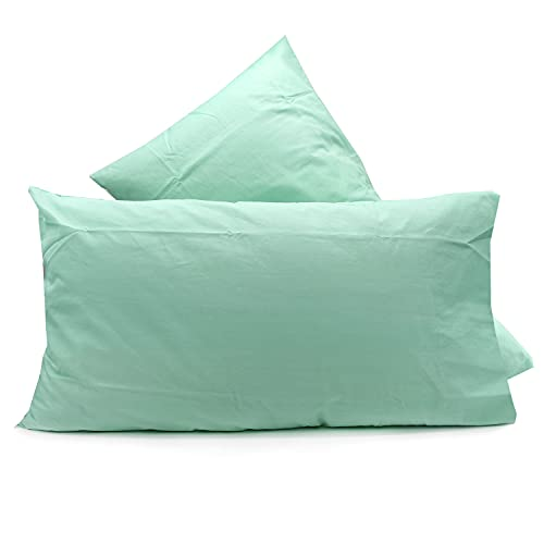 Par de fundas de almohada de algodón Lovetessile de color liso, 50 x 80 cm (verde V3)