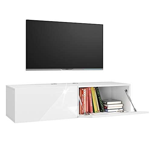 Homfa Fernsehtisch TV Lowboard hängend Hängeboard Wohnwand Wohnzimmer TV Schrank Weiss Hochglanz TV Board TV Bank Fernsehschrank 120x40x30cm