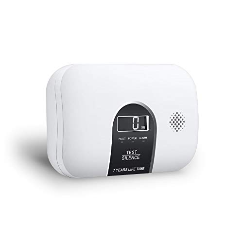 Ecoey Carbon Monoxide Alarm, LCD Digital Display CO Alarm with 2 AA Batteries(Include) and Silence Function, 7-Year Fire Safety for House, Bedroom, Hotel, FJ128, 1 Pack