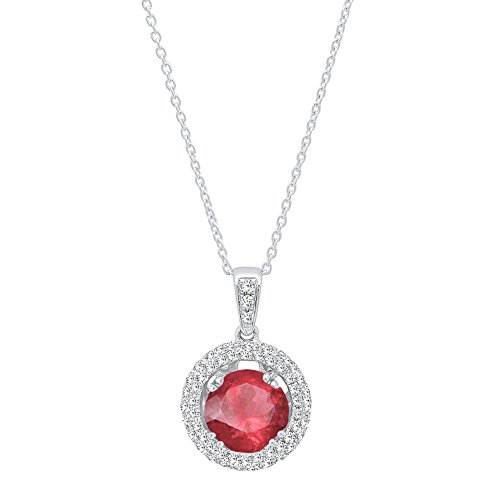 DazzlingRock Collection 10 carats Or Blanc Rond Rouge I-J Rubis Artificiel Diamant Blanc