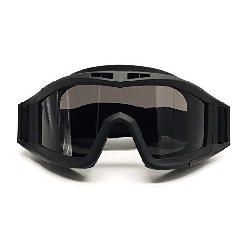 Bospyaf Taktische Brille mit komplettem Rahmen, winddicht, Militär-Brille, Schutzbrille, CSS, Schwarz