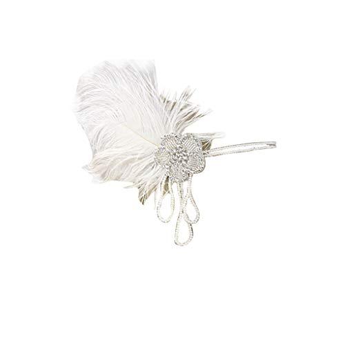 UJUNAOR Feder Kopfschmuck Haarband Federhaarband 20er 30er Jahre Kostüm Accessoire Damen Haarschmuck Federschmuck(A,One size)