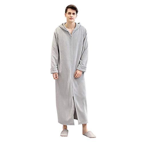 VJGOAL Albornoces de Hombre para Mujer Parejas Invierno Casual Moda Color sólido Espesar Cálido Bata de Felpa Manga Larga Cremallera con Capucha Ropa de Dormir Pijama