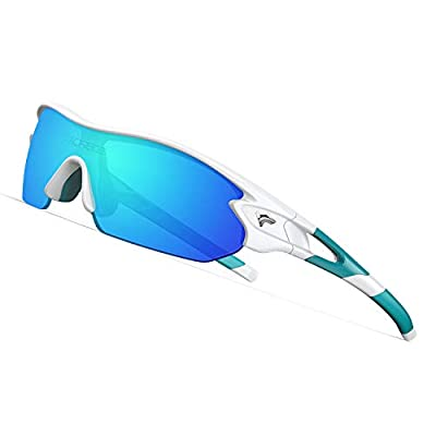 TOREGE Grilamid Tr90 Flexible Kids Sports Sunglasses Polarized Glasses for Junior Boys Girls Age 3-12 TR04 (Wihte&Blue&Blue Lens)