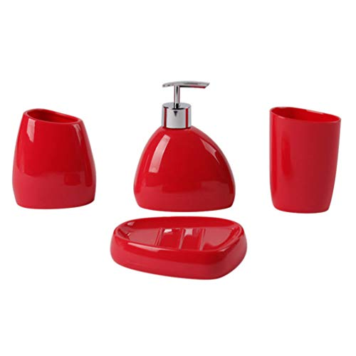 PIXNOR Juego de Accesorios de Tocador para Baño de 4 Piezas Dispensador de Jabón Acrílico Soporte para Cepillo de Dientes Vaso Taza Botella de Loción para Encimera Roja