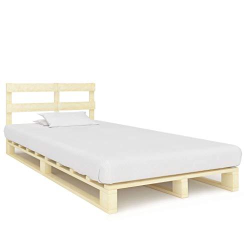 vidaXL Kiefernholz Massiv Palettenbett Palettenmöbel Massivholzbett Bett Holzbett Futonbett Bettgestell Bettrahmen Doppelbett 120x200cm