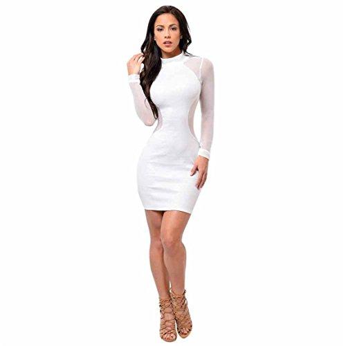 Moonuy,Frauenkleider für männer,Bodycon Kleid der Frauen, Elegantes dünnes über Knie, Minikleid, langärmliges figurbetontes Kleid, beiläufiger Polyester-Fester Bleisti (Weiß, EU 38 / Asien L)