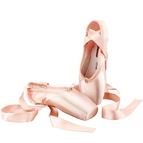 Spitzenschuhe Rosa Ballettschuhe Professionell Tanzschuhe mit Spitzenschoner und genähtes Band für Damen/Mädchen