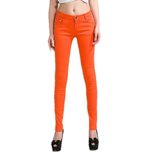 NP Las mujeres lápiz jeans caramelo color mediados de longi