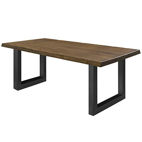 COMIFORT Mesa de Comedor - Mueble para Salon Oficina Despacho Robusto y Moderno de Roble Macizo Color Nogal con Lado Ondulado, Patas de Acero U-Forma Negras (180x100 cm)